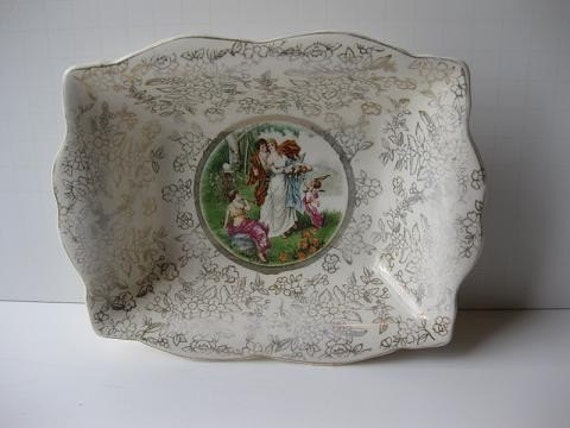 Reserved Item Vintage Victorian Handpainted Porcelain Dish - Shabby Cute