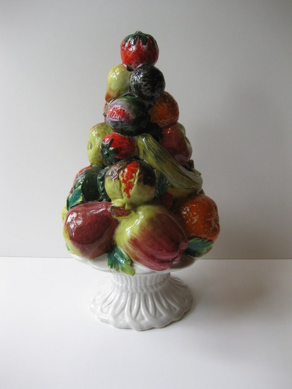 Vintage Italian Ceramic Fruit Filled Centerpiece By Jenscloset