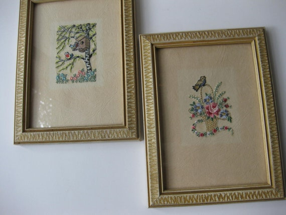Vintage Pastel Handstitched Flowers and Birds Wall Hangings Pair