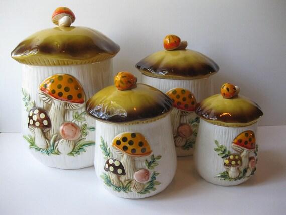 Vintage 70s Sears Merry Mushroom Retro Ceramic Canister Set of Four