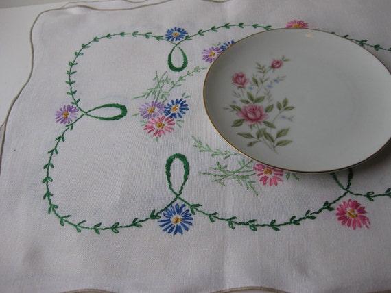 Vintage Hand Embroidered Pink Blue Purple Floral Table Runner