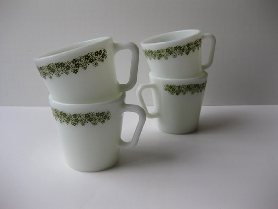 Pyrex Coffee Mugs Spring Blossom Set of Four - Vintage Cottage Style
