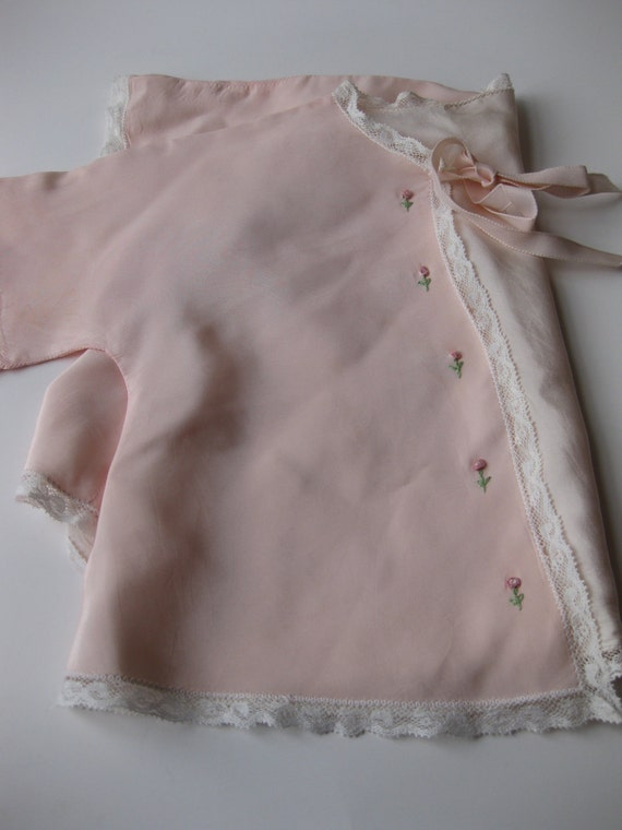 Vintage Pink Lacy Baby Kimono