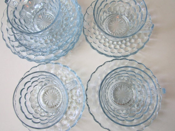 Reserved Item Vintage Anchor Hocking Blue Bubble Teacups Saucers Bread Butter Plates Set of 11 Pieces