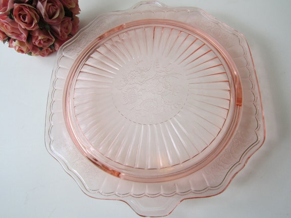 Vintage Pretty Pink Floral Footed Cake Plate