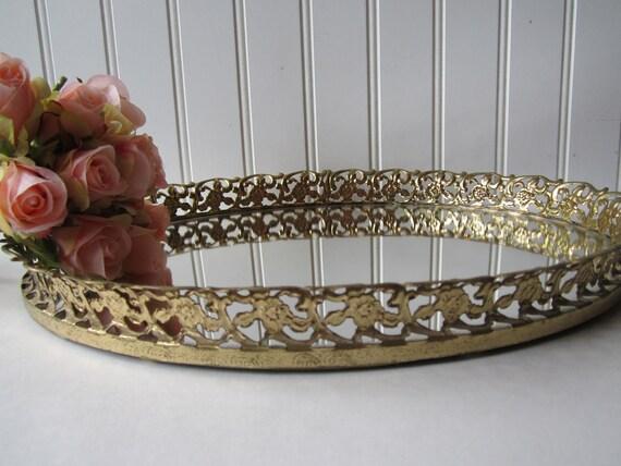 Vintage Brass Mirror Floral Vanity Tray - Shabby Chic