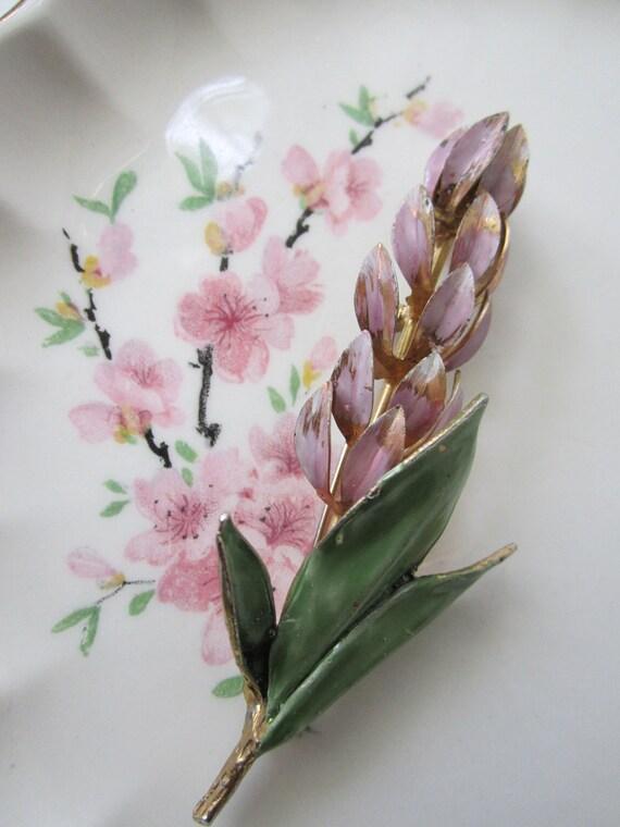 Vintage Pink Green Enamel Goldtone Floral Brooch