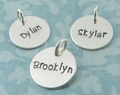 Name Charm Pendant  Hand Stamped Sterling Silver Personalized Custom Fonts