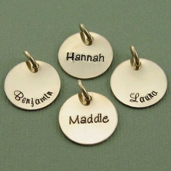 Small Single Charm Name Pendant  - Custom Hand Stamped 14K Gold Fill Personalized with Custom Fonts