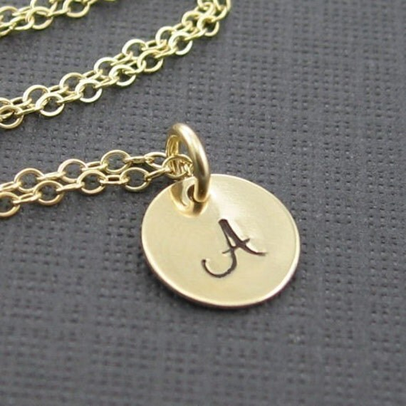 Gold stamped necklace hand stamped necklace k gold plated in sterling gold stamped necklace initial pendant necklace custom hand stamped by aloadofball Image collections