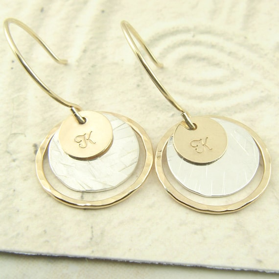 Personalized Mixed Metal Earrings, Hand Stamped Initial, Gold Sterling Silver, Fashion Jewelry