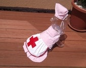 CANDY STRIPER or NURSE uniform with hat - made to order - 2 to 15 lbs