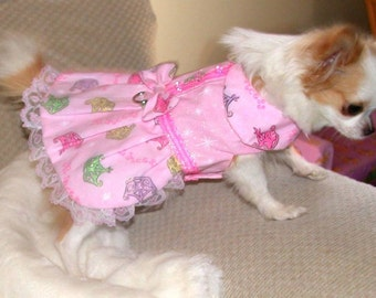 PRINCESS PARTY SPARKLES - dog harness dress - 2 to 15 lb dogs - made to order
