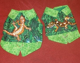 Harness vest - JUNGLE LIZARD -Choose your lizard or gecko - 2 to 15 lb dogs-Made to order