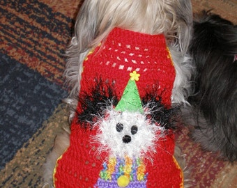 Dog sweater - POOCHINELLO the BIRTHDAY CLOWN - sizes up to 20 lb dogs