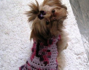 Dog sweater - BUTTERFLY KISSES in Lavender or Beach colors-  Eco friendly - 2 to 20 lb dogs- Made to order
