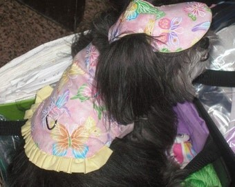 Dog Harness VEST And HAT Combo - GIRL Fabrics - 2 to 15 lb dogs