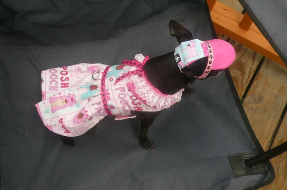 POSH POOCH Harness Dress - CUTE Puppy fabric - 2 to 15 lb dogs- made to order - Hat avail