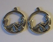 2 Silver Pewter Mermaid Sitting on The Moon Charms (m46)