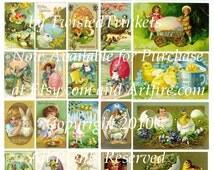 Vintage Easter Cards Digital Collage Sheet - Digital Delivery or Hardcopy
