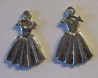 2 Silver Pewter Ballerina Dress Charms (m52)