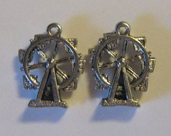 2 Silver Pewter Ferris Wheel Charms (qb09)