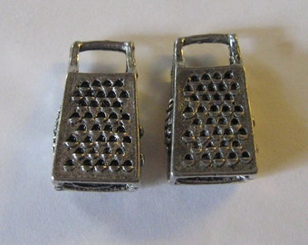 2 Silver Pewter Cheese Grater Charms (cc58)