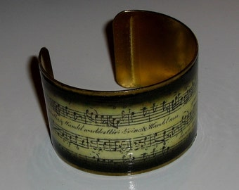Vintage Sheet Music Brass Art Cuff Bracelet
