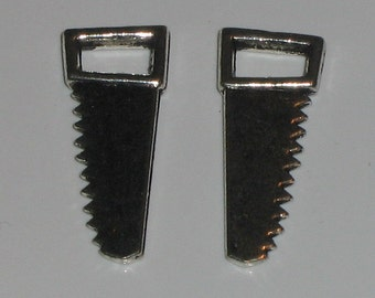 2 Silver Pewter Saw Charms (m98)