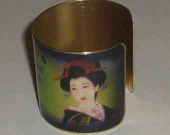 Vintage Style Brass Art Cuff - The True Geisha