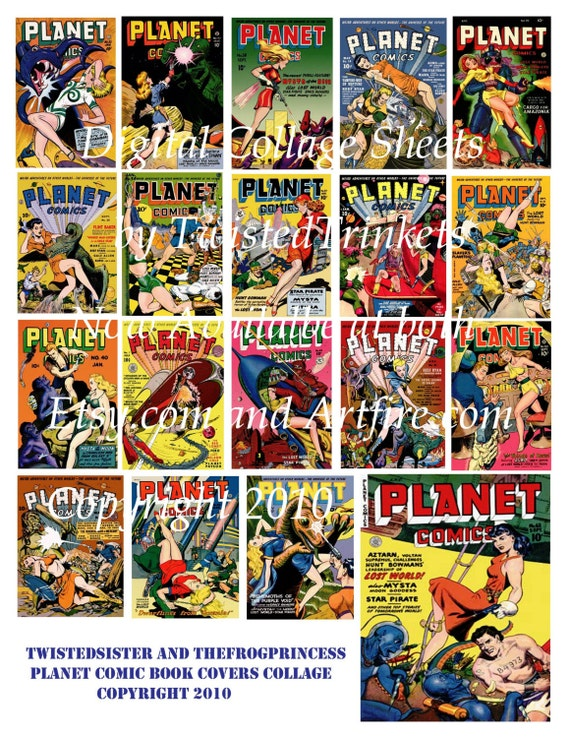 Book Cover Collage Usa : Items similar to vintage planet comic books digital