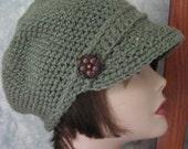 Newsboy Crochet Hat Pattern Womens Khaki Visor Hat ePattern PDF Easy To Make May Sell Finished