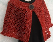 Womens Crochet Cape Pattern With Large Button Trim And Snap Closure Instant Download