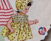 Vintage 1950s Toddlers Dress And Sun Bonnet Pattern PDF Size 1-2 yrs