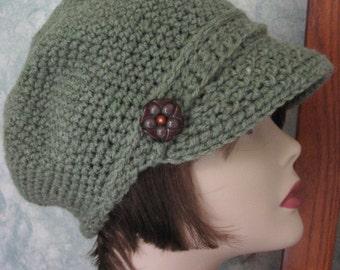Newsboy Crochet Hat Pattern Womens Khaki Visor Hat Chemo Hat Bad Hair Day Hat Instant Download Pattern