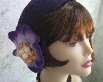 1930s Womens Hat PatternFlapper Style Hat Pattern With Felt Flower Trim Instant Download