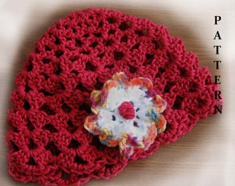 Womens Crochet Hat Pattern- Shell Stitch Beanie With Flower Trim  Easy To Make Instant Download