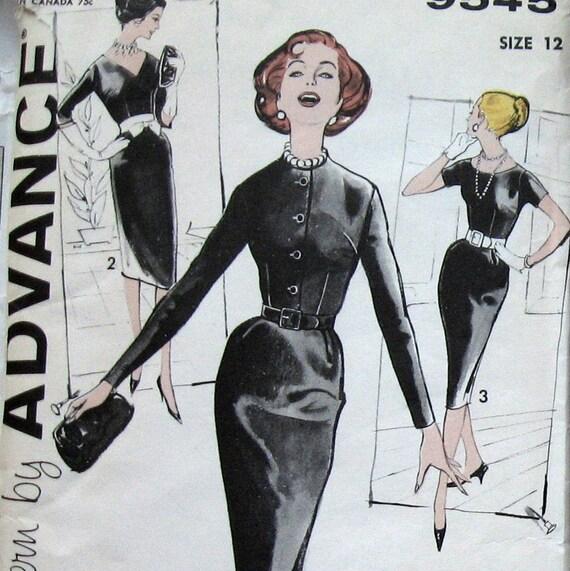 SEWING PATTERN Vintage 50s WOMENS SASSY SHEATH WIGGLE DRESS Sz12 UNCUT