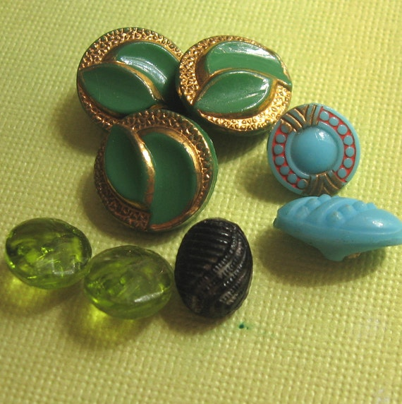 Vintage Glass Buttons 8 Colorful Buttons With Embossed Trim Jewelry Button Art