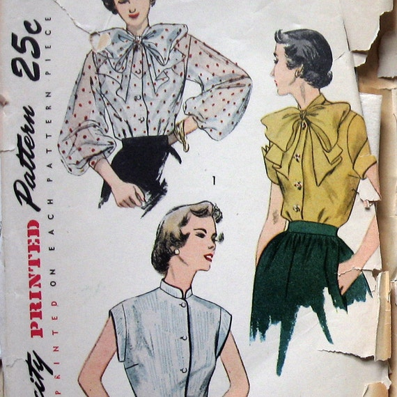 Womens Vintage BLOUSE PATTERN circa 1950s 2 Styles Simplicity 3458 Sz 16