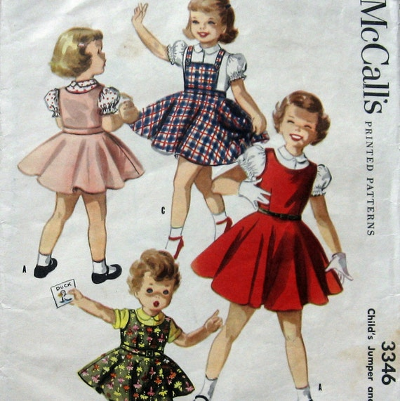 Vintage 1950s Girls Dress Jumper Pattern McCalls 3346 Sz 2