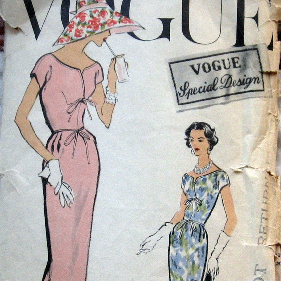 1957 VOGUE Womens Dress Pattern With Oval Shaped Neckline In 2 Lengths Sz12