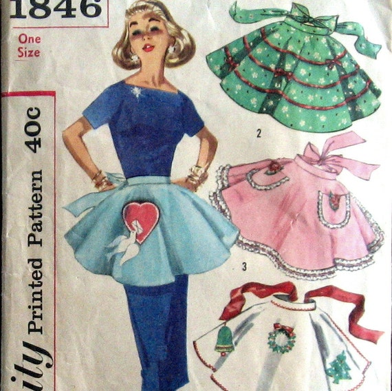 1950s Womens Apron Pattern Holiday Party Half Styles With Applique Transfers Simplicity 1845 One Size