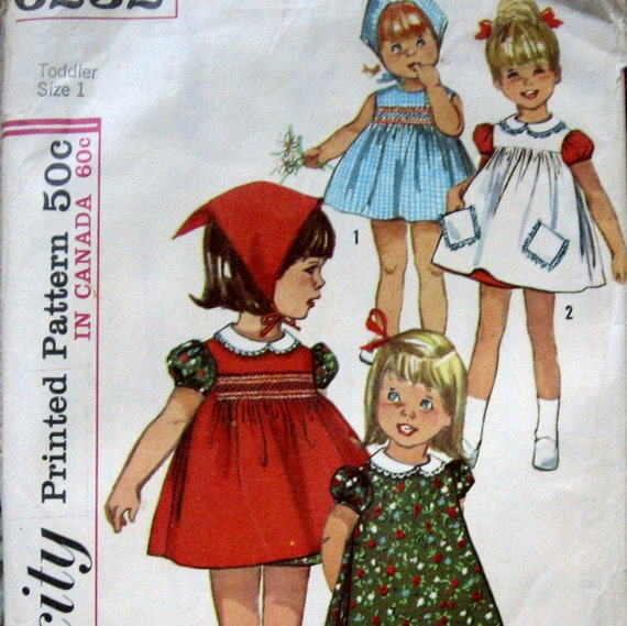 Vintage Girls Dress Pattern With Scarf- Pinafore And Optional Smocked Yoke circa 1960s Sz 1 Simplicity 6232