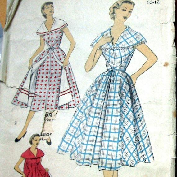 1950s Womens WRAP Dress Pattern With Shawl Style Collar Advance 6144 Sz 10-12 UNCUT