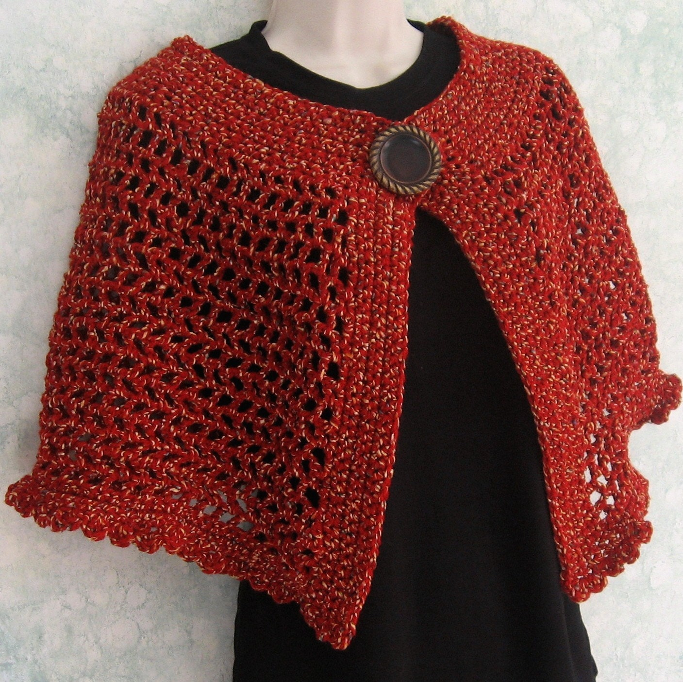 Womens crochet cape pattern with large button trim and snap zoom bankloansurffo Choice Image