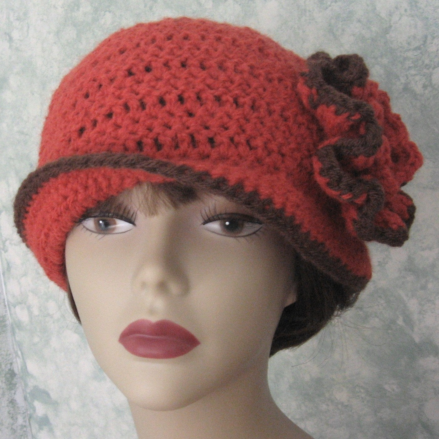 Easy Crochet Flower Patterns For Hats : Crochet Pattern Womens Flapper Hat ePattern With Double Flower
