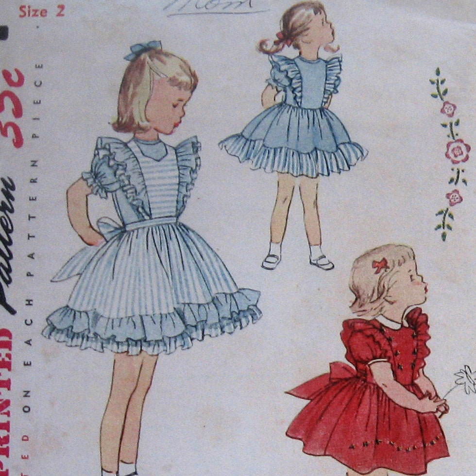 Vintage Girls Dress Pattern With Pinafore And by kalliedesigns