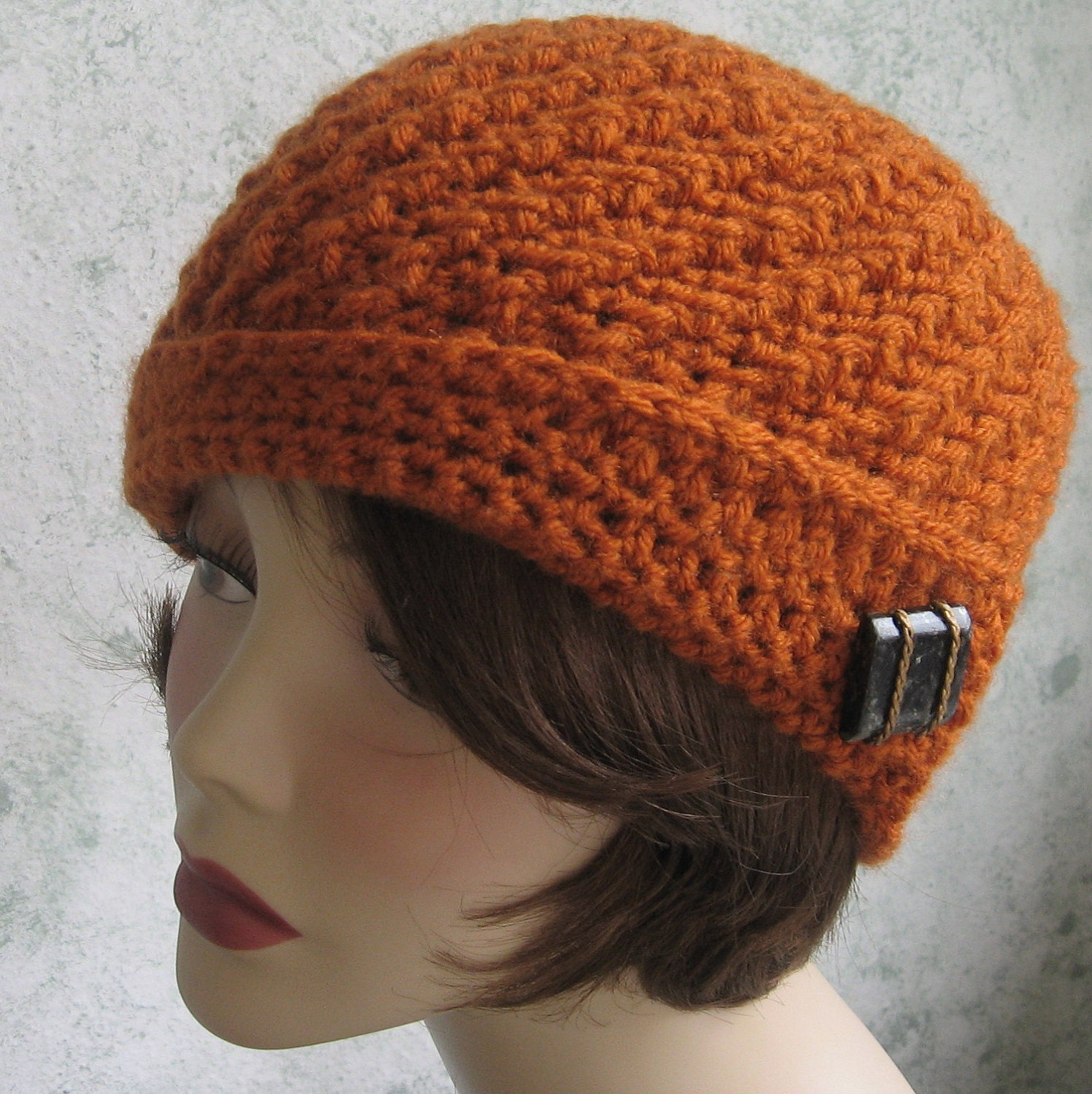 Crochet Pattern Mens Hat With Brim : Crochet Hat pattern Spiral Rib With Flapper Style Brim Instant