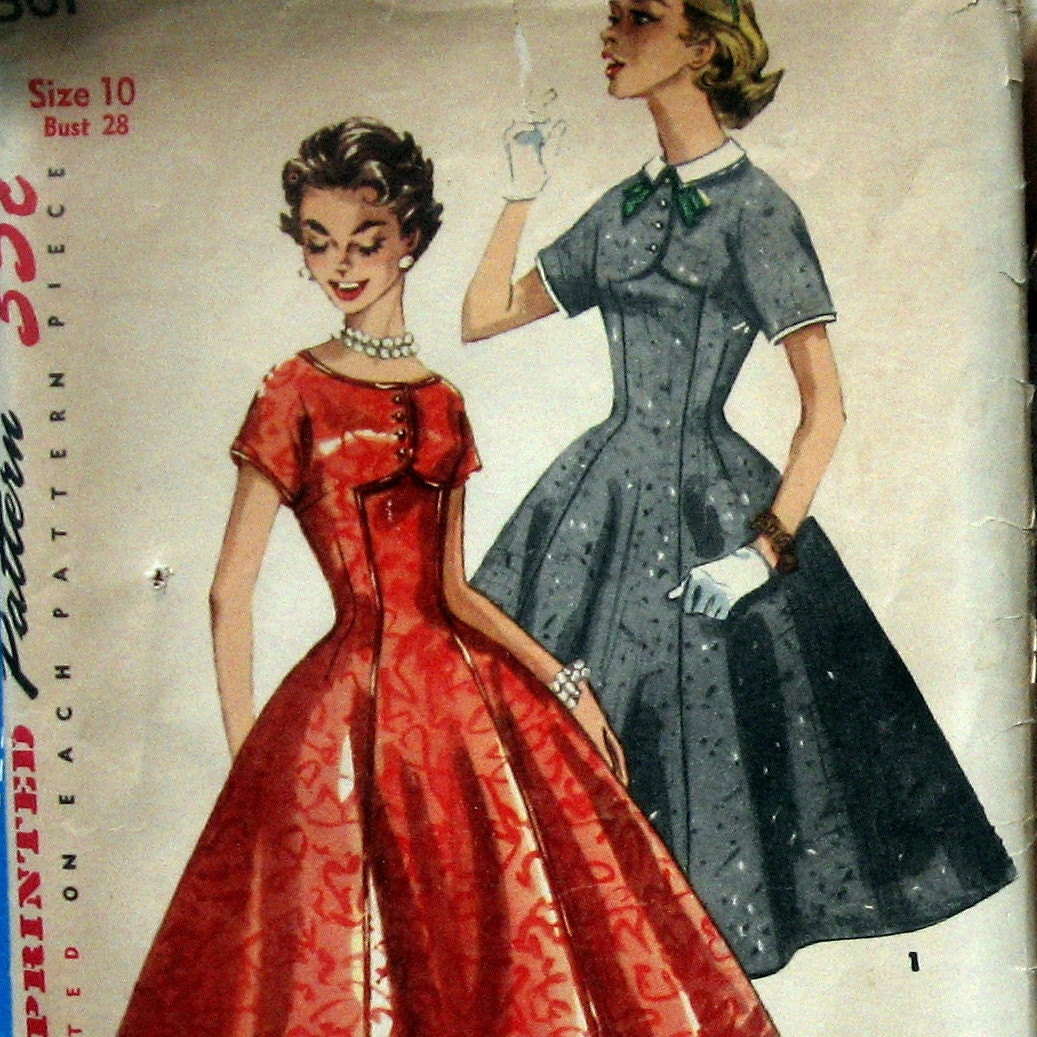 1950s Vintage Womens Dress Pattern Princess Style With